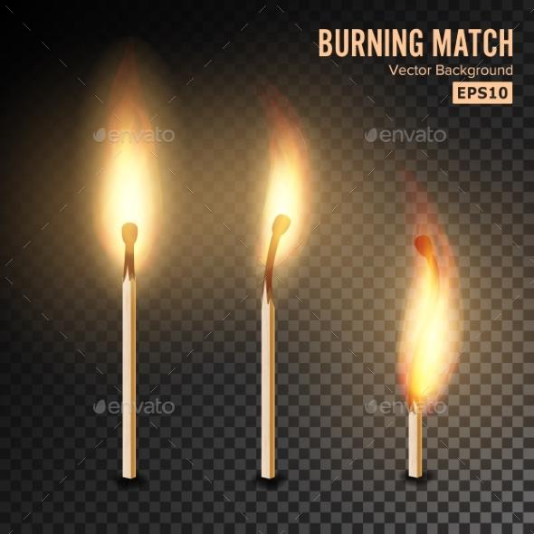 Realistic Burning Match Vector - Miscellaneous Vectors