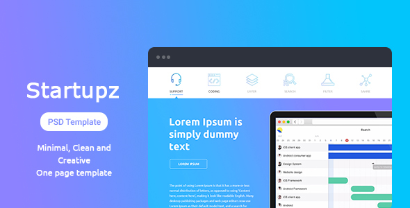 Startupz - One Page PSD Template