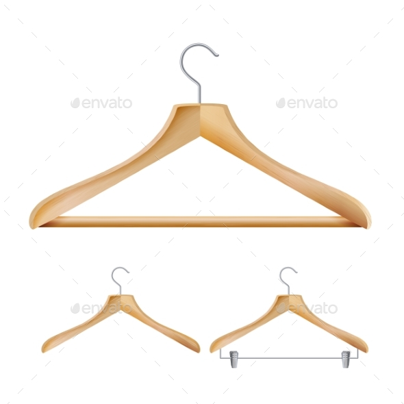 Wooden Clothes Hangers Vector - Man-made Objects Objects