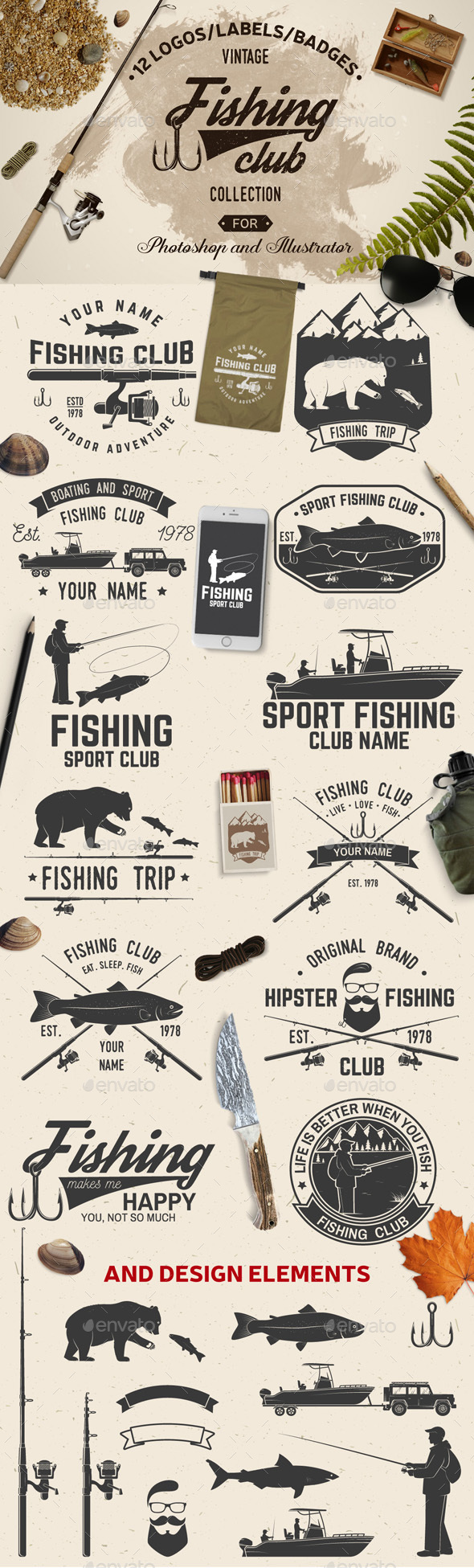 Fishing Club Vintage Collection - Badges & Stickers Web Elements