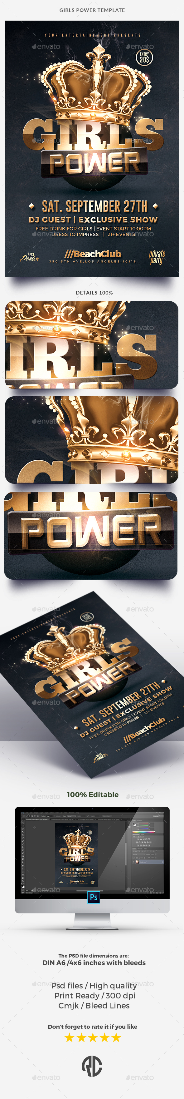 Girls Power - Gold Templates - Clubs & Parties Events
