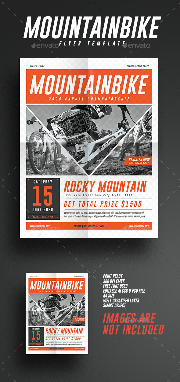 Mountain Bike Event Flyer - Flyers Print Templates