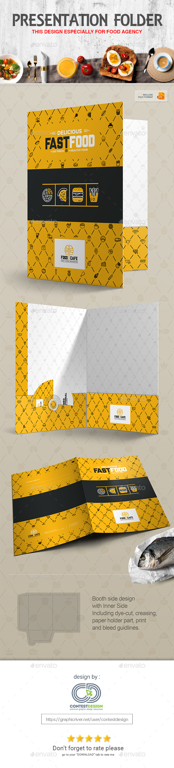 GraphicRiver Presentation Folder Design Template for Fast Food Restaurants Cafe 20333501