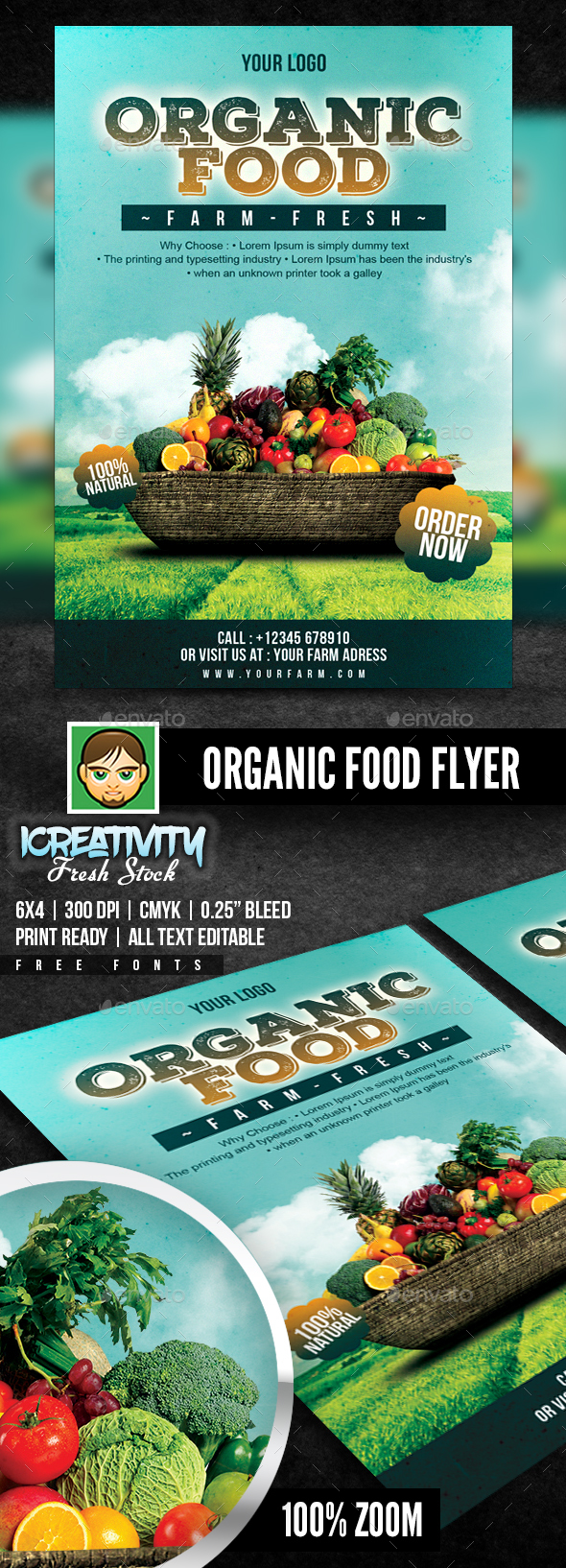 Organic Food Flyer - Flyers Print Templates