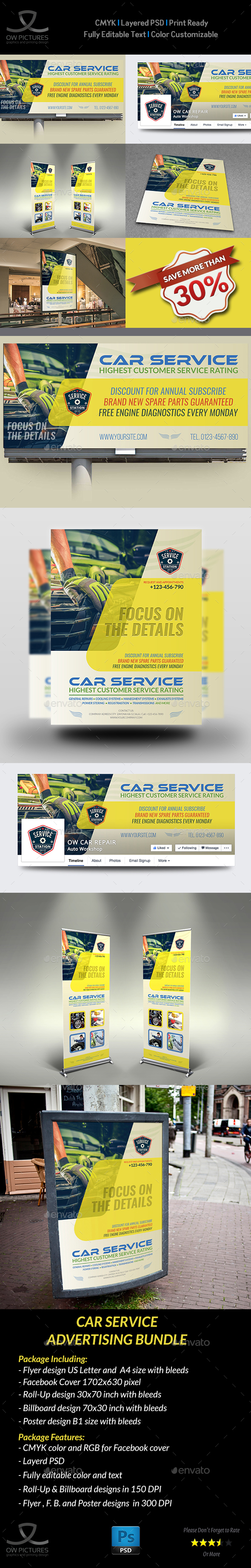 Car Service Advertising Bundle - Signage Print Templates