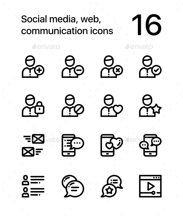 Social Media, Web, Communication Icons for Web and Mobile Design Pack 1 - Web Icons