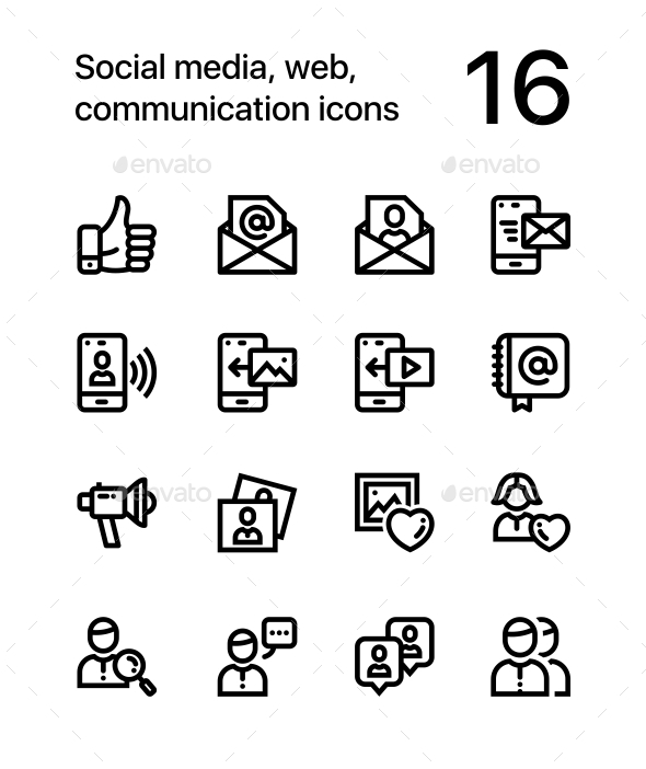 Social Media, Web, Communication Icons for Web and Mobile Design Pack 2 - Web Icons