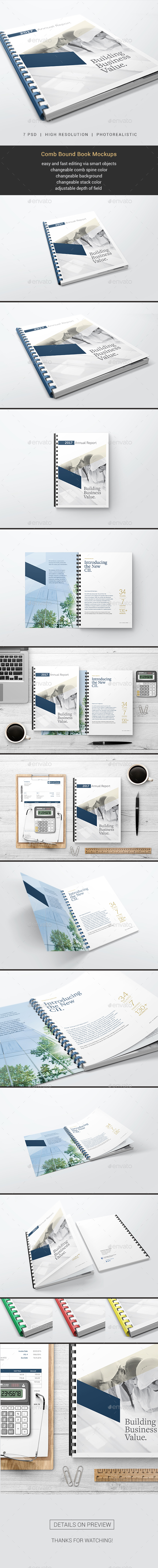 Comb Bound Book Mockups - Books Print
