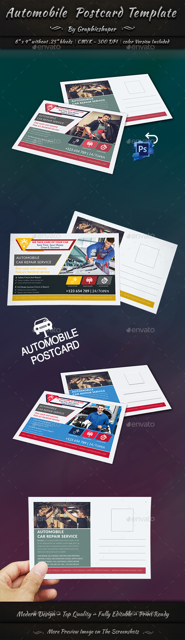 GraphicRiver Automobile Post Card Template 20334035