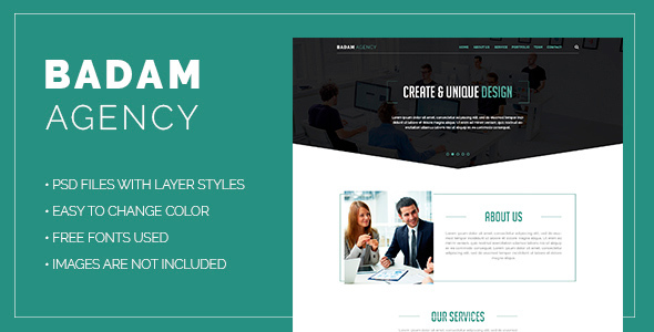 Badam Agency – One Page PSD