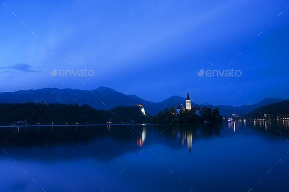 Night at Famous Bled Lake National Park at dusk, Slovenia - Stock Photo - Images