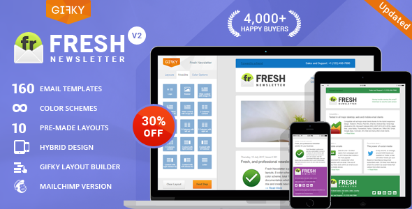 Fresh Newsletter - Hybrid Email Template + Access to Gifky Layout Builder - Newsletters Email Templates