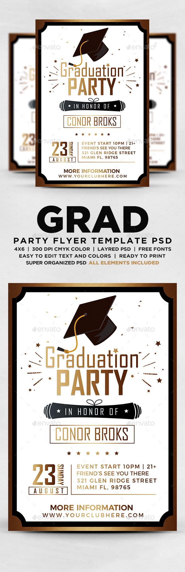 graduation flyer in photoshop. Black Bedroom Furniture Sets. Home Design Ideas