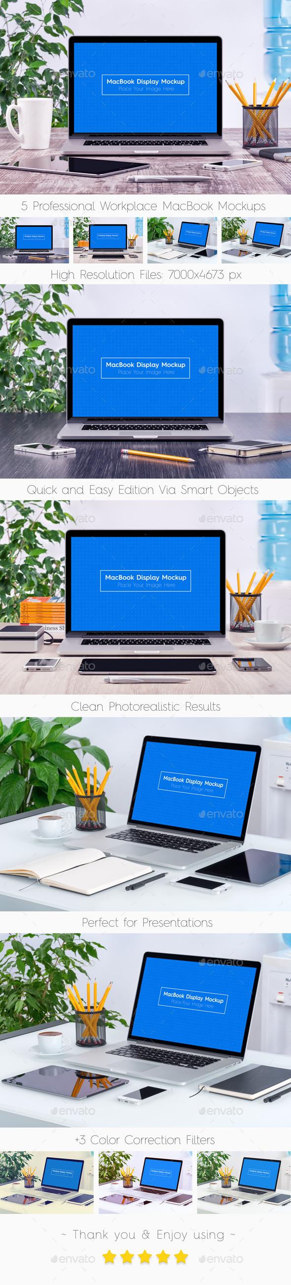 GraphicRiver 5 Workplace MacBook Display Mockups 20331743
