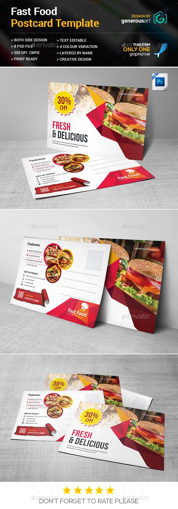 Fast Food Postcard - Cards & Invites Print Templates