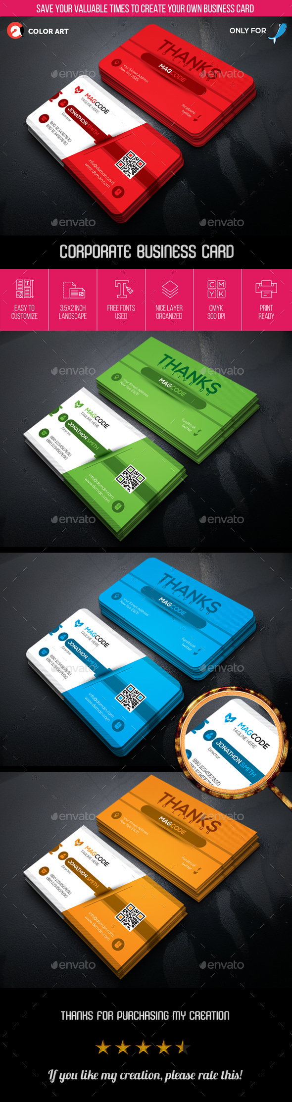 Corporate Business Card V.1 - Business Cards Print Templates