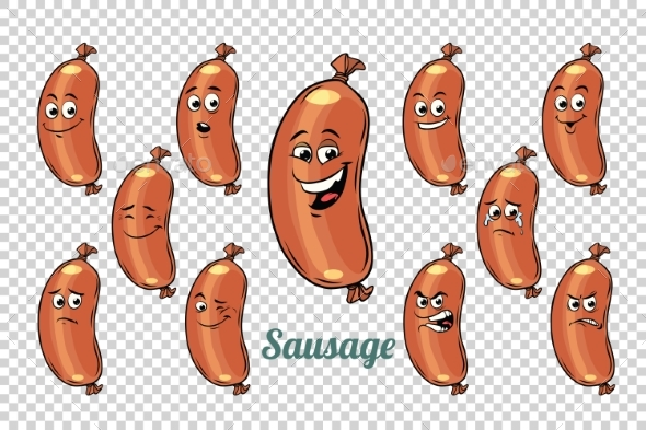 GraphicRiver Sausage Emotions Characters Collection Set 20336022