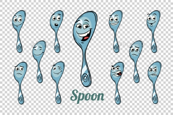 Spoon Emotions Characters Collection Set - Food Objects