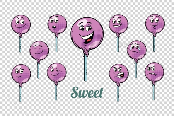 GraphicRiver Round Lollipop Candy Emotions Characters 20336026