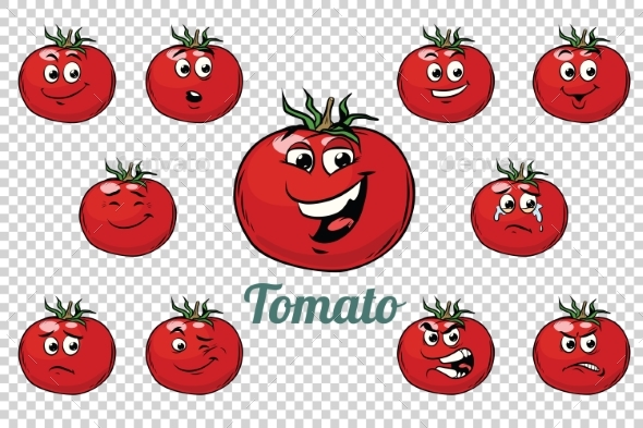 Tomato Emotions Characters Collection Set - Food Objects