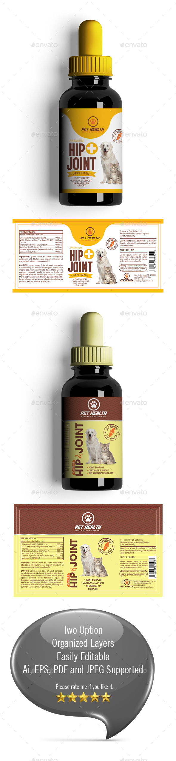 Dog Hip & Joint Supplement Label-01 - Packaging Print Templates
