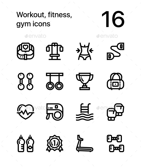 Workout, Fitness, Gym Icons for Web and Mobile Design Pack 2 - Icons