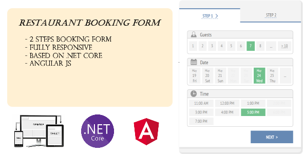 CodeCanyon Responsive Restaurant Booking Form with Net Core and Angular JS 20336236