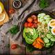 Bulgur porridge, egg and fresh vegetables - tomatoes, cucumber, celery and avocado - PhotoDune Item for Sale