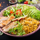 Healthy salad with chicken, tomatoes,  avocado, lettuce, watermelon radish and lentil - PhotoDune Item for Sale