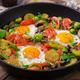 Breakfast for two. Fried eggs with vegetables - shakshuka - PhotoDune Item for Sale