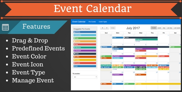 Multipurpose Event Calendar By Dynomix | Codecanyon