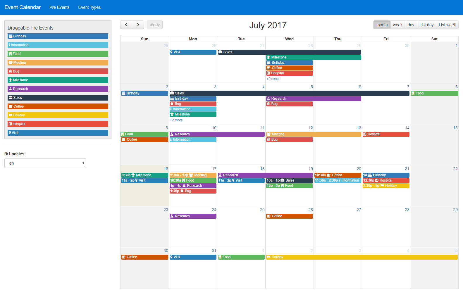 Calendar Events : Multipurpose event calendar by dynomix codecanyon