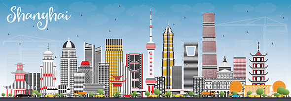 Shanghai Skyline with Color Buildings and Blue Sky. - Buildings Objects