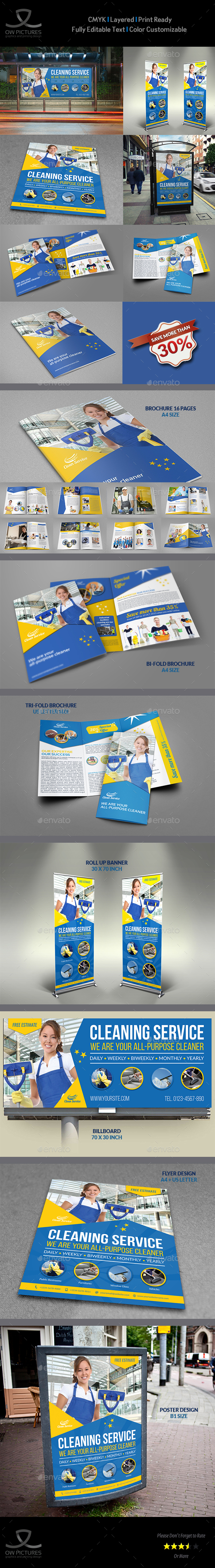 Cleaning Services Advertising Bundle Vol.4 - Miscellaneous Print Templates
