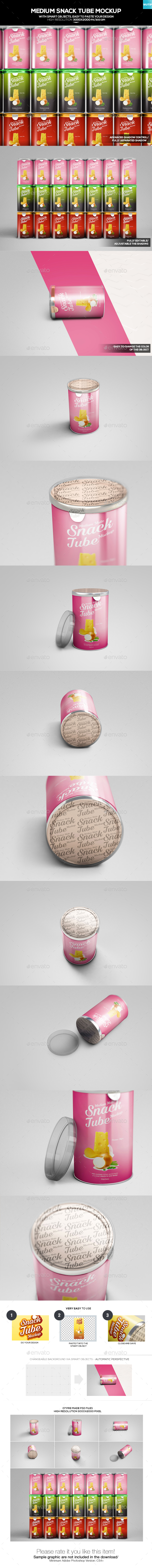Medium Snack Tube Mockup - Food and Drink Packaging