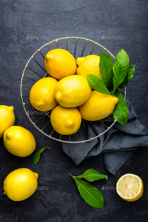Lemon, fresh lemons with leaves - Stock Photo - Images