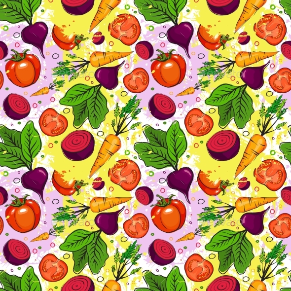 Seamless Pattern of Different Vegetables - Food Objects