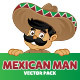 Mexican Man vector set