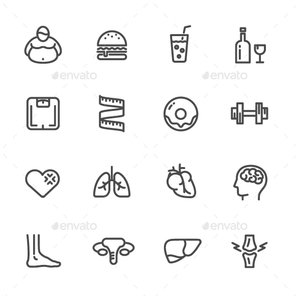 Dietary causes, health effects of obesity. - Icons