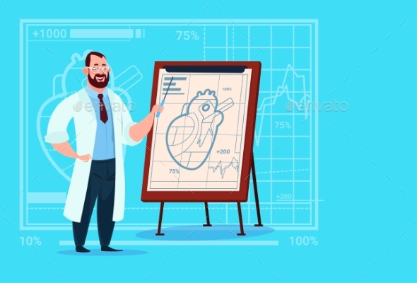 Doctor Cardiologist Over Flip Chart with Heart - Health/Medicine Conceptual