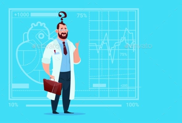 Doctor Confused Thinking Medical Clinics Worker - Health/Medicine Conceptual