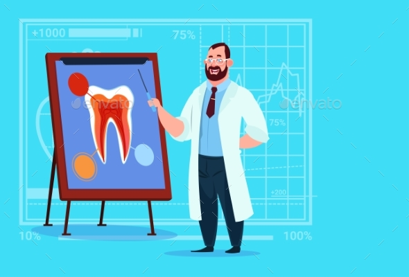 Doctor Dentist Looking at Tooth on Medical Board  - Health/Medicine Conceptual