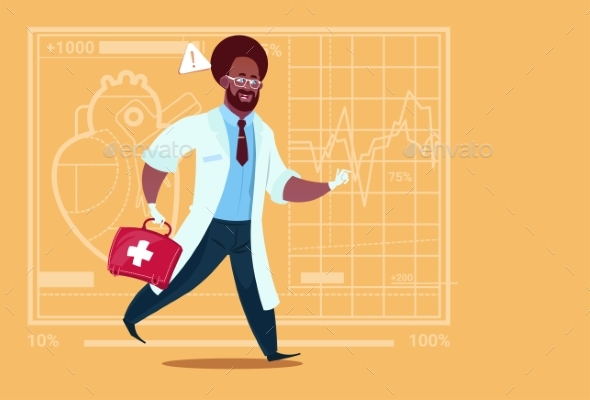 Emergency Doctor Runs with Medical Box - Health/Medicine Conceptual