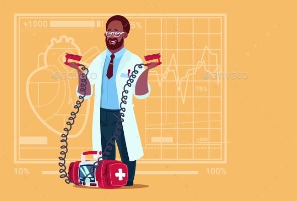 Doctor Holds Defibrillator - Health/Medicine Conceptual