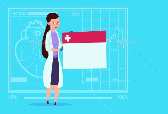 Female Doctor Holding Empty Diagnosis Banner - Health/Medicine Conceptual