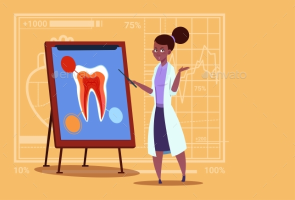 Doctor Dentist Looking at Tooth - Health/Medicine Conceptual