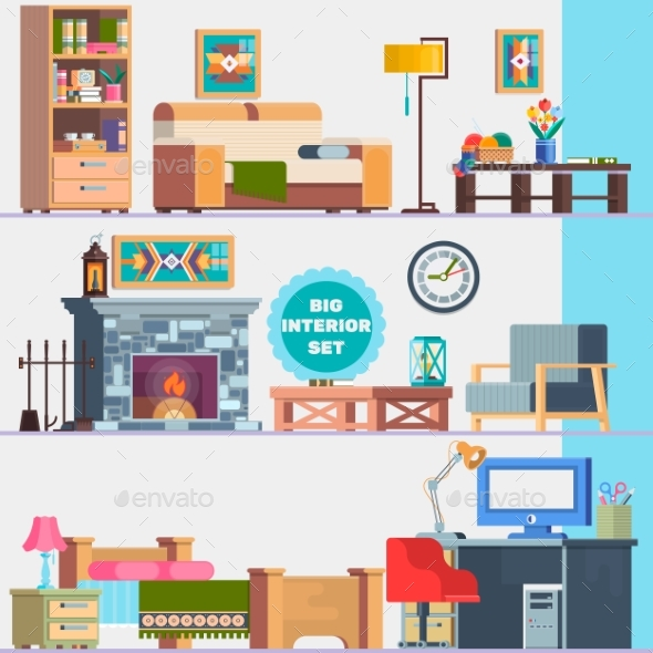 Big Detailed Interior Set. Home Furniture - Objects Vectors