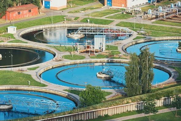 Sewage treatment plant - Stock Photo - Images