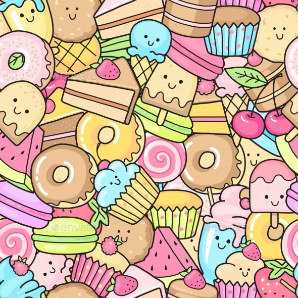 GraphicRiver Seamless Background of Sweet and Dessert Doodle 20337559