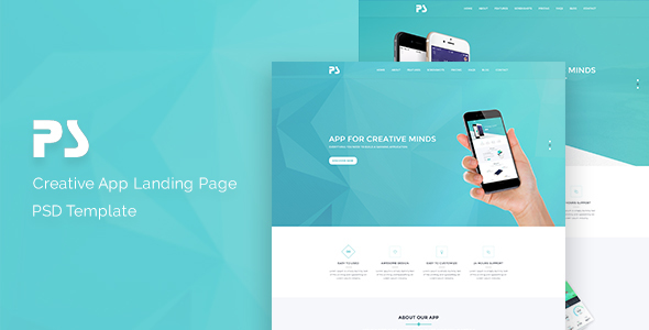 PS-App Landing Page PSD Template. - Technology PSD Templates
